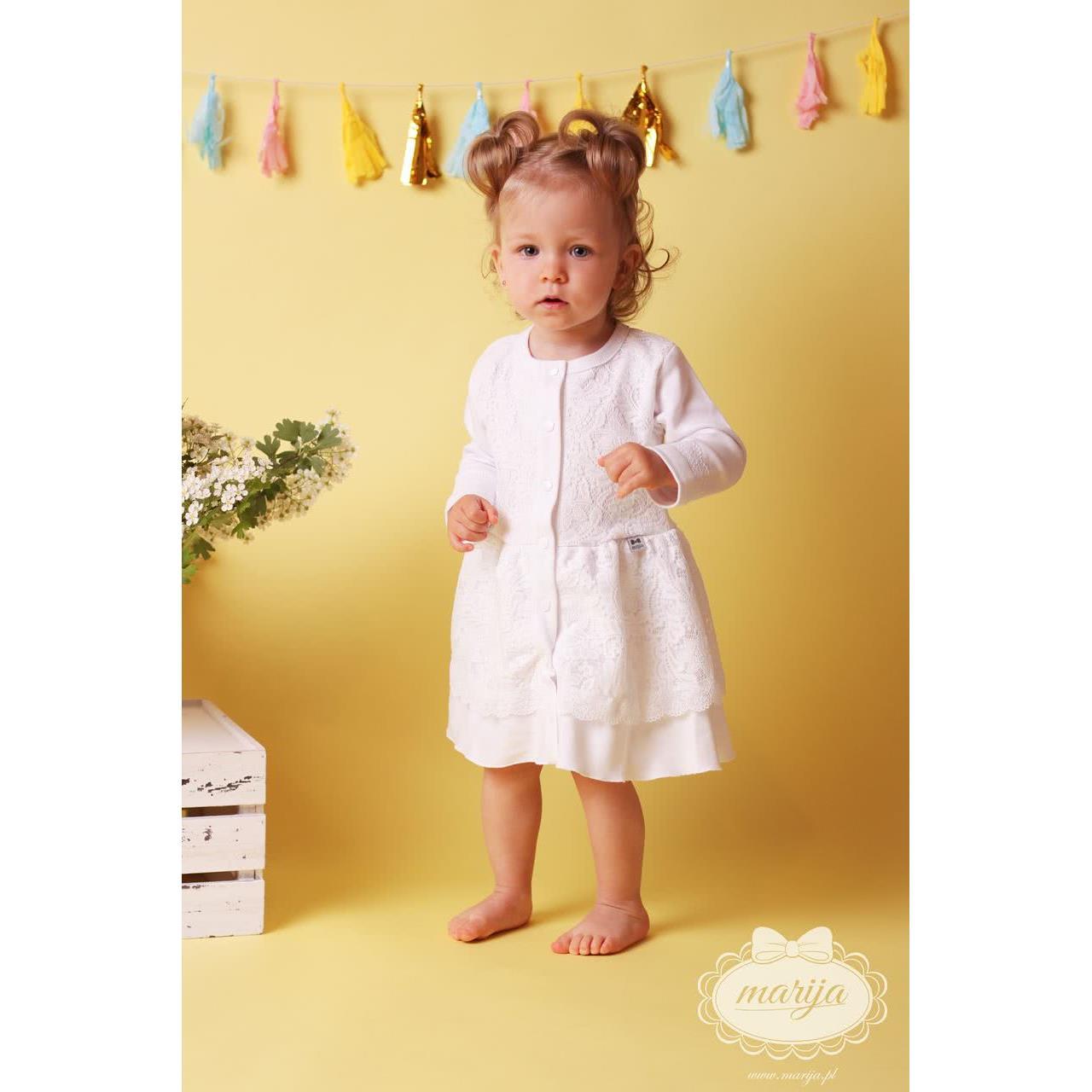 68925fb73ad613 Sukienka na chrzest z długim rękawem, biała z koronki Marija ...